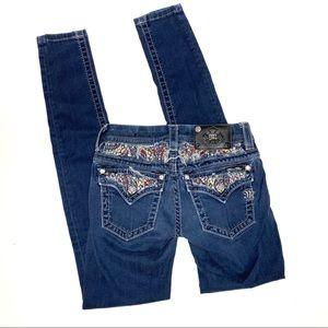 Miss Me rhinestone skinny jeans sz 25